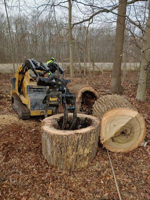 machine getting ready to pick up log